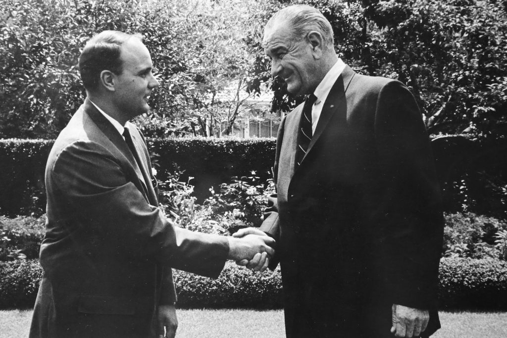 Michael Kirst Shaking Hands with Lyndon Johnson in 1960s
